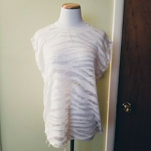 IRO Jeans Tiger Distressed White Top Size S